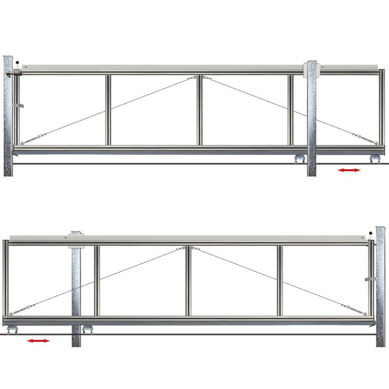 schiebetor hoftor bausatz h 100 b 270 freitragend. Black Bedroom Furniture Sets. Home Design Ideas