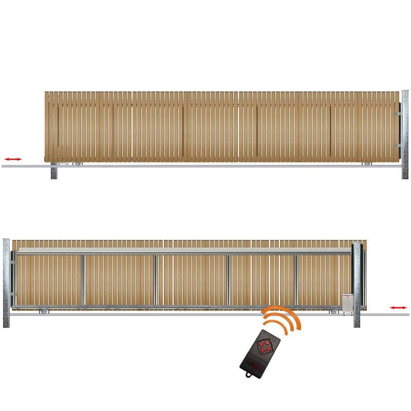 schiebetor hoftor bausatz h 140 b 530 mit antrieb. Black Bedroom Furniture Sets. Home Design Ideas
