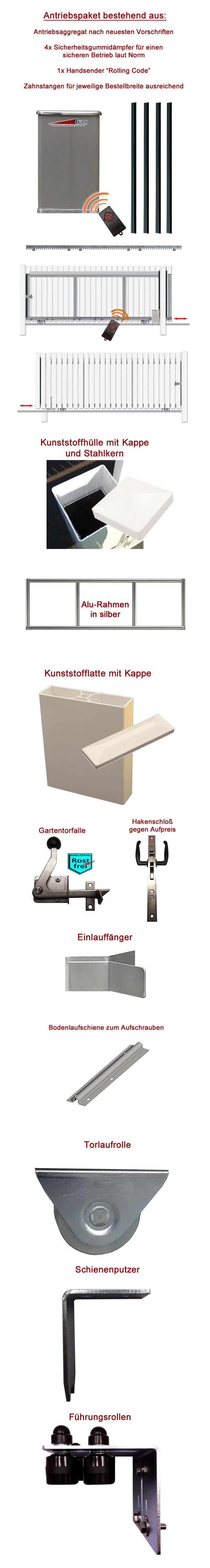 schiebetor hoftor bausatz h 80 b 280 mit antrieb. Black Bedroom Furniture Sets. Home Design Ideas