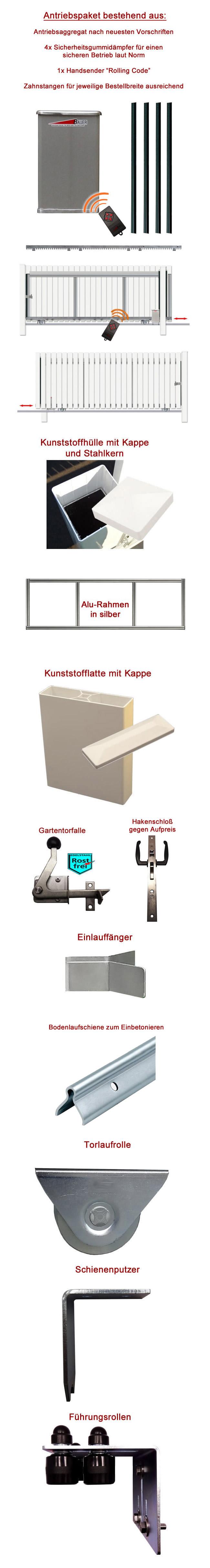 schiebetor bausatz h 80 b 280 mit e antrieb. Black Bedroom Furniture Sets. Home Design Ideas