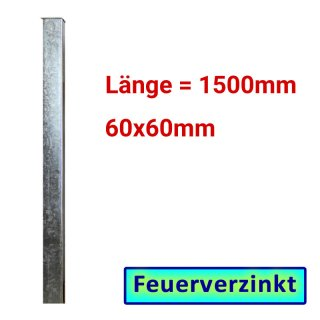 Zaun- Torpfosten VZ, zum Einbetonieren, 60x60x3mm, L = 1500mm