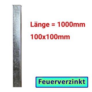 Zaun- Torpfosten VZ, zum Einbetonieren, 100x100x3mm, L = 1000mm