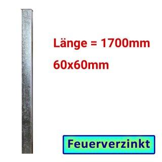 Zaun- Torpfosten VZ, zum Einbetonieren, 60x60x3mm, L = 1700mm