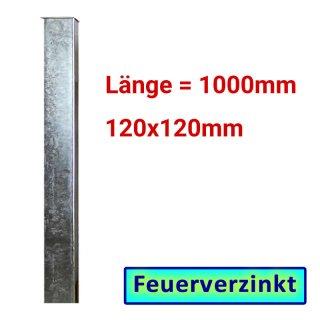 Zaun- Torpfosten VZ, zum Einbetonieren, 120x120x3mm, L = 1000mm