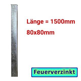 Zaun- Torpfosten VZ, zum Einbetonieren, 80x80x3mm, L = 1500mm