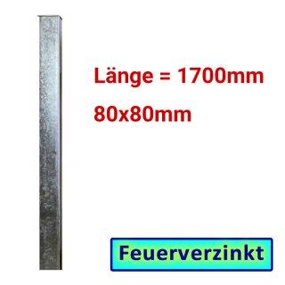 Zaun- Torpfosten VZ, zum Einbetonieren, 80x80x3mm, L = 1700mm