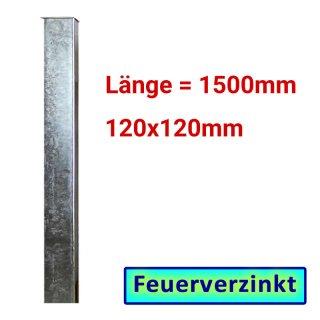 Zaun- Torpfosten VZ, zum Einbetonieren, 120x120x3mm, L = 1500mm