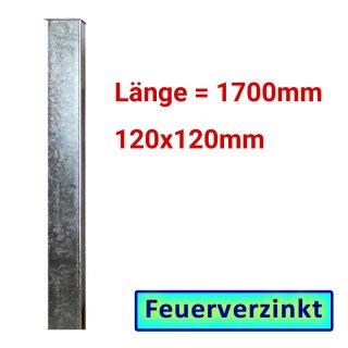 Zaun- Torpfosten VZ, zum Einbetonieren, 120x120x3mm, L = 1700mm