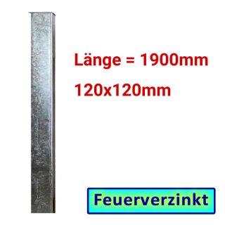 Zaun- Torpfosten VZ, zum Einbetonieren, 120x120x3mm, L = 1900mm