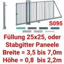 Freitragendes Stahl-Schiebetor S095, mit Profile, ohne...