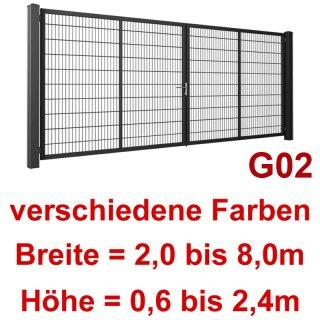 Zweiflügeliges Industrie Stahl-Drehtor G02, ohne Antrieb, Stabgitter,