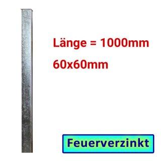 Zaun- Torpfosten VZ, zum Einbetonieren, 60x60x3mm, L = 1000mm
