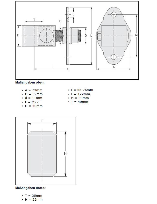 Torangel einstellbar, M22, VZ und Bolzen roh