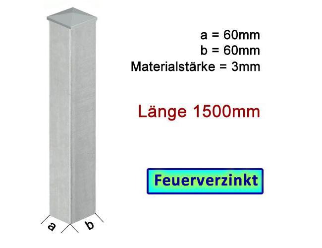 Zaun Torpfosten Vz Zum Einbetonieren 60x60x3mm L 15