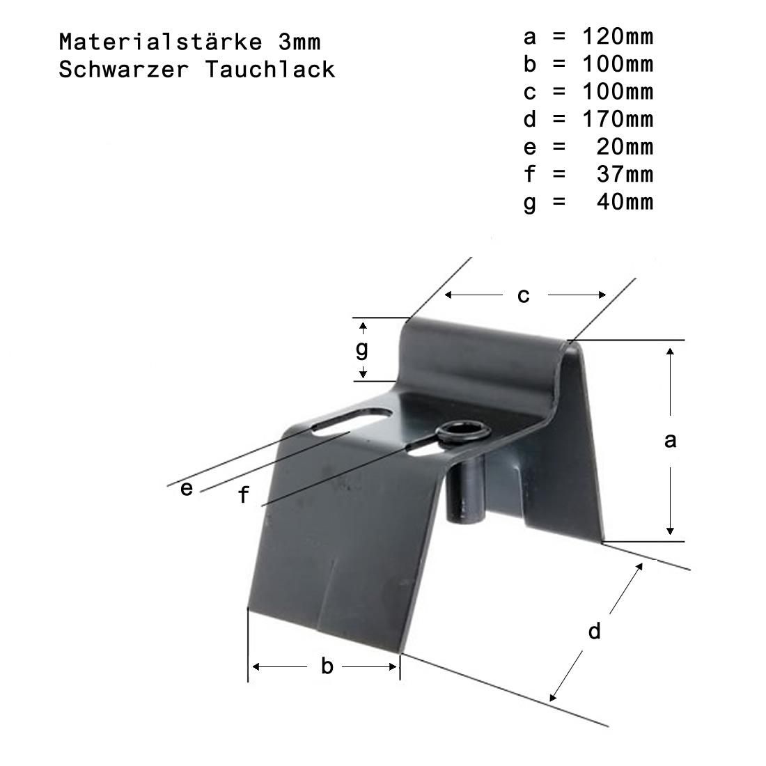 bodenanschlag b 100mm schwarzer tauchlack zum einbetonieren 100716 fl geltore ebay. Black Bedroom Furniture Sets. Home Design Ideas