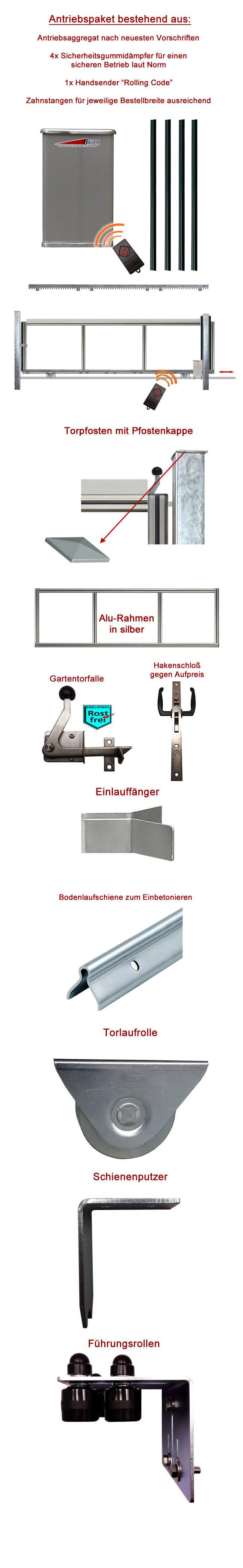 schiebetor hoftor bausatz h 100 b 530 mit e antrieb. Black Bedroom Furniture Sets. Home Design Ideas