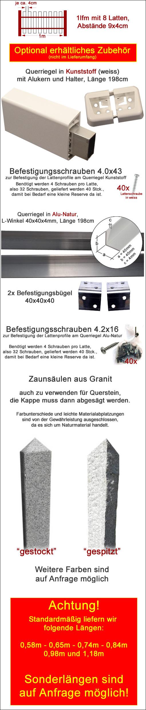 lfm Kunststoffzaun Gartenzaun Zaun Zäune Zierzaun Kunststoff